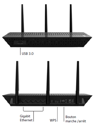 Conectivity ports on the wifi range extender EX7000 from NETGEAR